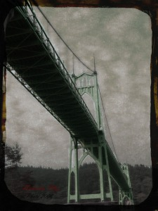 daguerrotype of the St. Johns Bridge